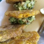 Tostones Fritos (fried plantains, avocado relish, jalapeño agave)